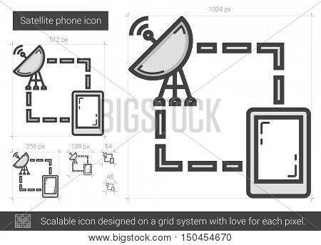 Satellite phone vector line icon isolated on white background. Satellite phone line icon for infographic, website or app. Scalable icon designed on a grid system.