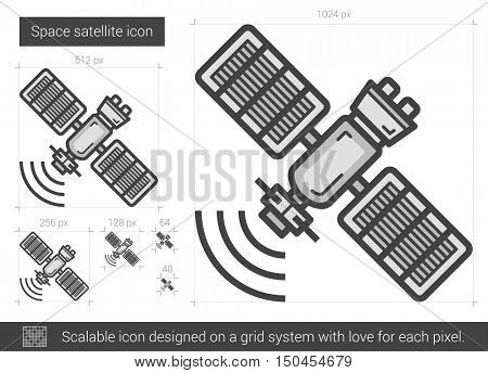 Space satellite vector line icon isolated on white background. Space satellite line icon for infographic, website or app. Scalable icon designed on a grid system.