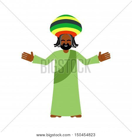 God Ganja. Idol Jah Gives Rasta. Reggae Rastafarian Hat And Dreadlocks. Rastaman Deity. Jamaican Dei