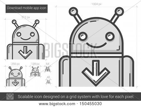 Download mobile app vector line icon isolated on white background. Download mobile app line icon for infographic, website or app. Scalable icon designed on a grid system.