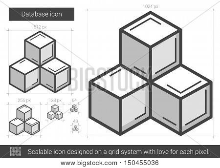 Database vector line icon isolated on white background. Database line icon for infographic, website or app. Scalable icon designed on a grid system.