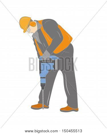 worker with pneumatic hammer drill equipment isolated on white. vector illustration