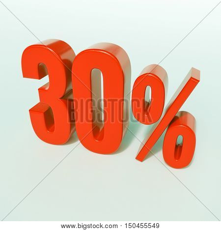 Red 30% 3d Percentage Sign on White Background, Special Offer 30% Discount Tag, Sale Up to 30 Percent Off, Special Price Offer Label for Social Media, Posters, Email, Print, Ads