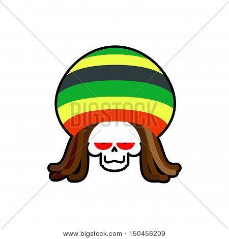 Rasta Death. Rastafarian Dreadlocks Skull And Beret. Grim Reaper For Rastafarian. Ganja Skeleton