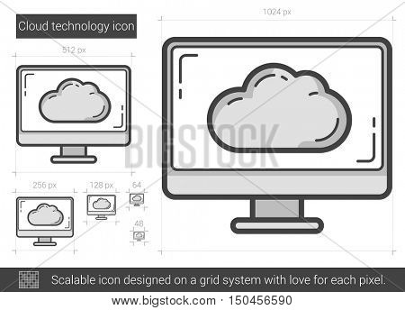 Cloud technology vector line icon isolated on white background. Cloud technology line icon for infographic, website or app. Scalable icon designed on a grid system.