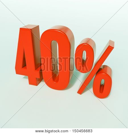 Red 40% 3d Percentage Sign on White Background, Special Offer 40% Discount Tag, Sale Up to 40 Percent Off, Special Price Offer Label for Social Media, Posters, Email, Print, Ads