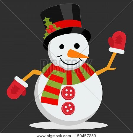 Snow Man in hat with holly branch. Vector illustration on black background. Merry christmas concept with snowman in scarf gloves and cylinder hat