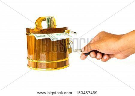 Round Wooden Money Box With Dollar