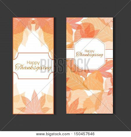 Set invitation to the feast day of thanksgiving with autumn leaves for your design