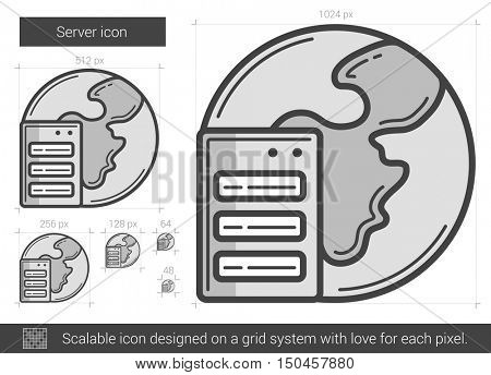 Server vector line icon isolated on white background. Server line icon for infographic, website or app. Scalable icon designed on a grid system.