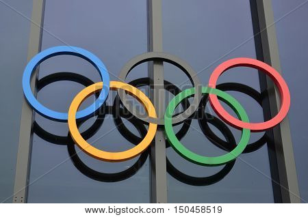 LAUSANNE, SWITZERLAND SEPTEMBER, 19, 2016: Olympic rings at Olympic museum in Switzerland in September 19, 2016. The symbol of the Olympic Games was originally designed in 1912 by Baron Pierre de Coubertin.