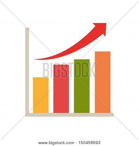 Financial  statistics bars chart with arrow up. vector illustration
