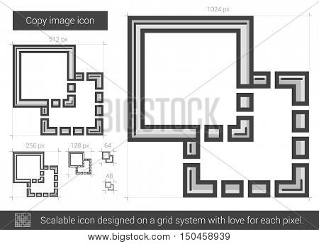Copy image vector line icon isolated on white background. Copy image line icon for infographic, website or app. Scalable icon designed on a grid system.