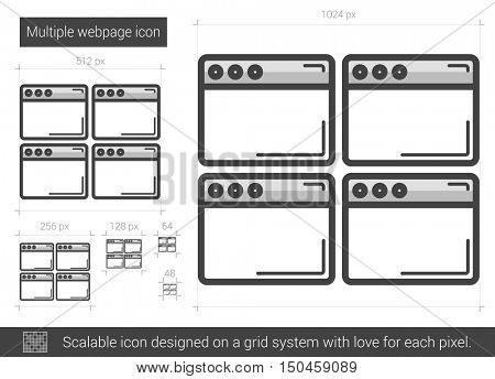 Multiple webpage vector line icon isolated on white background. Multiple webpage line icon for infographic, website or app. Scalable icon designed on a grid system.