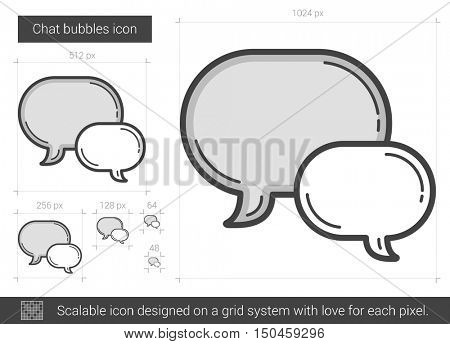 Chat bubbles vector line icon isolated on white background. Chat bubbles line icon for infographic, website or app. Scalable icon designed on a grid system.
