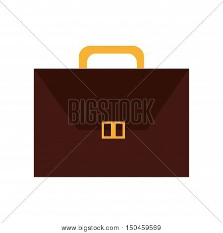 brown executive briefcase with gold handle and button accessory. vector illustration