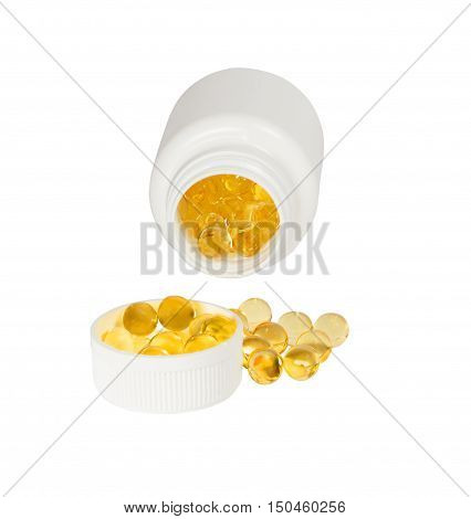 Cod liver oil capsules. On a white background