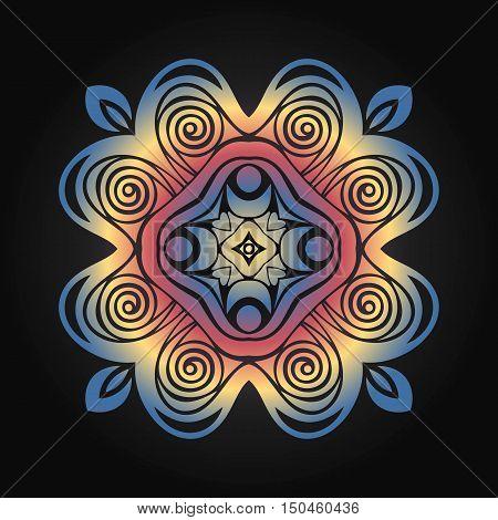 Round symmetrical pattern in blue white and fuchsia colors. Mandala.