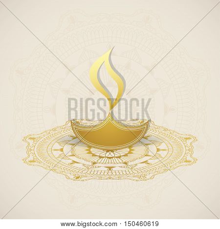 Diwali Lamp on Decorative Mandala Background. Elegant element for design template.
