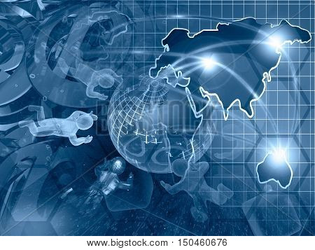 Computer background in blues with mans map and globe.