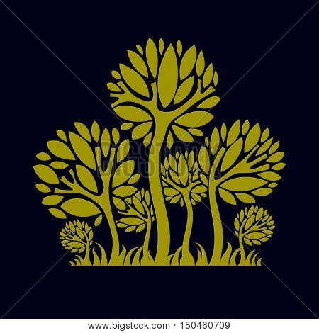 Artistic stylized natural design symbol creative tree illustration. Can be used as ecology and environmental conservation concept.