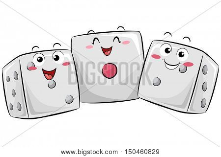 Mascot Illustration of a Group of Happy Dice Huddled Together to Demonstrate Statistical Probability