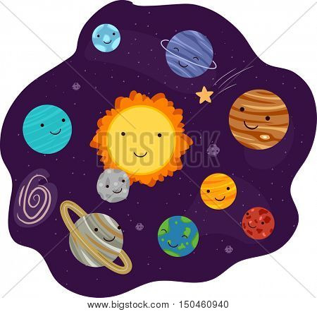 Illustration of the Solar System Featuring Happy Planet Mascots Orbiting the Sun