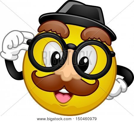 Mascot Illustration of a Happy Smiley in Disguise Wearing a Fedora Hat, a Pair of Glasses, and a Fake Moustache