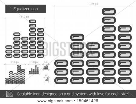 Equalizer vector line icon isolated on white background. Equalizer line icon for infographic, website or app. Scalable icon designed on a grid system.