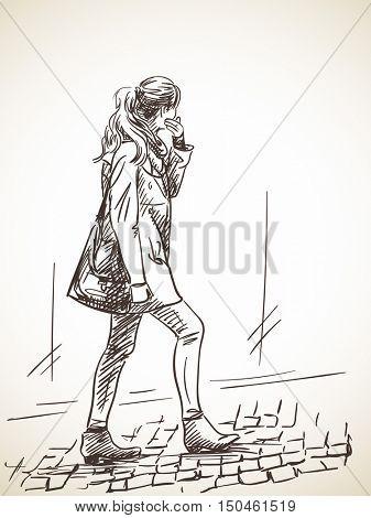 Sketch of woman walking on stone pavement Hand drawn illustration