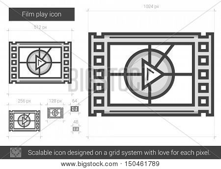 Film play vector line icon isolated on white background. Film play line icon for infographic, website or app. Scalable icon designed on a grid system.