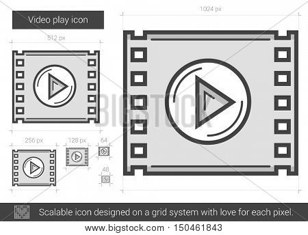 Video play vector line icon isolated on white background. Video play line icon for infographic, website or app. Scalable icon designed on a grid system.