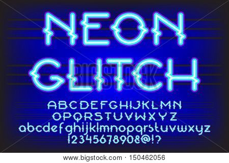 Neon Glitch Alphabet Vector Font. Neon tube letters on dark background. Uppercase, small case and digits set