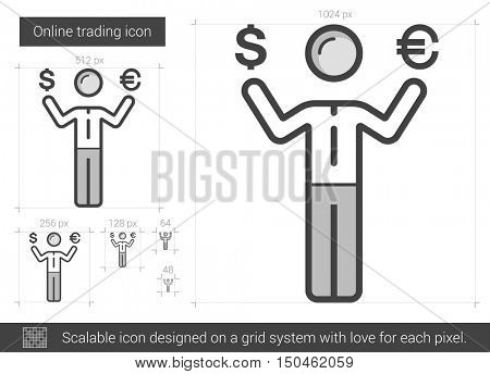 Online trading vector line icon isolated on white background. Online trading line icon for infographic, website or app. Scalable icon designed on a grid system.