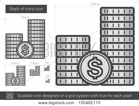 Stack of coins vector line icon isolated on white background. Stack of coins line icon for infographic, website or app. Scalable icon designed on a grid system.