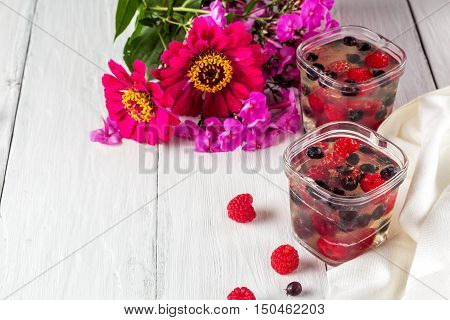 jelly of raspberry and shadberry close up