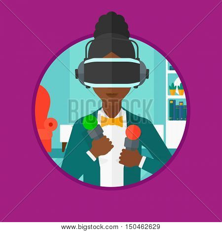 African-american woman wearing virtual reality headset and holding motion controllers in hands. Woman playing video games at home. Vector flat design illustration in the circle isolated on background.