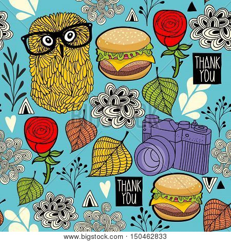 Colorful seamless pattern with hipster owls and food. Vector illustration.