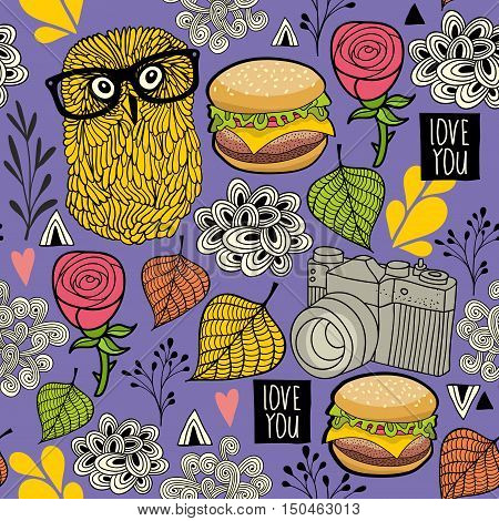 Seamless background with hamburger and hipster owl. Vector endless pattern.