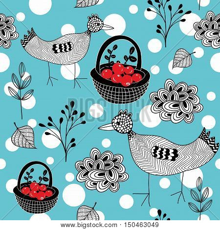 Cold winter seamless pattern with white snowballs and doodle birds. Vector background.