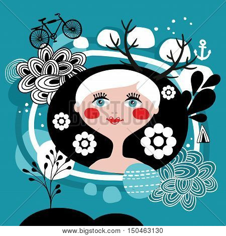 Creative portrait of blond girl from Scandinavia. Beautiful vector print or card cover.