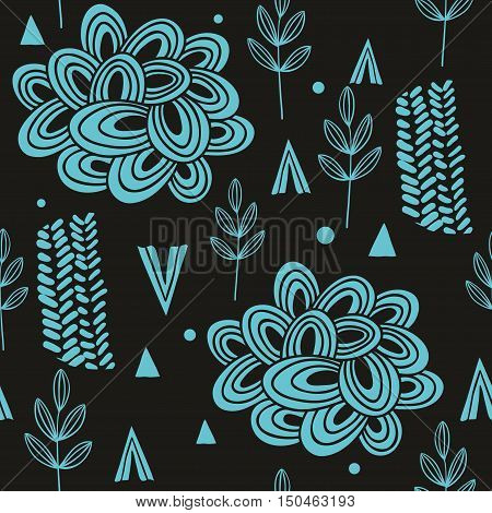 Seamless pattern with abstract nature elements. Vector illustration.