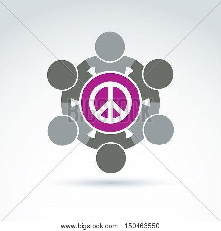 Illustration of group of people standing around peace sign. Harmony and freedom conceptual icon.