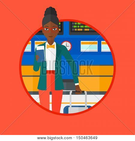 An african-american woman holding passport with ticket at the airport. Woman standing at the airport in front of departure board. Vector flat design illustration in the circle isolated on background.