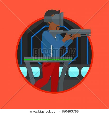 An african-american man wearing virtual reality headset. Man playing video game while standing on a treadmill with a gun in hands. Vector flat design illustration in the circle isolated on background.