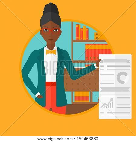 An african-american woman showing business presentation with some text and charts. Woman giving business presentation in office. Vector flat design illustration in the circle isolated on background.