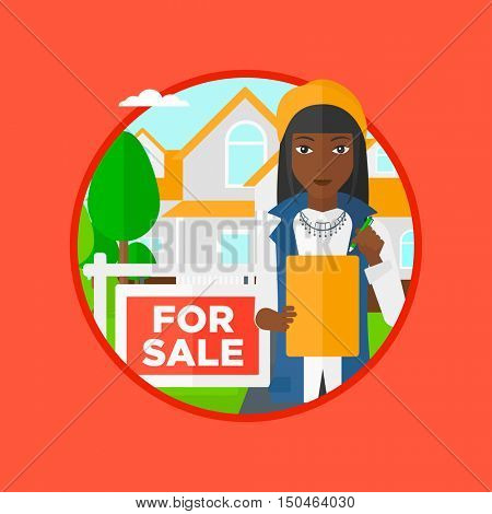 An african-american female real estate agent signing a contract. Real estate agent standing in front of the house with placard for sale. Vector flat design illustration in the circle isolated on