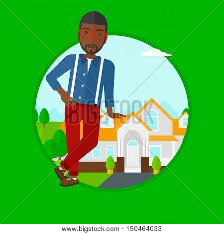 An african-american male real estate agent standing near the house. Young real estate agent leaning on the house and offering it. Vector flat design illustration in the circle isolated on background.