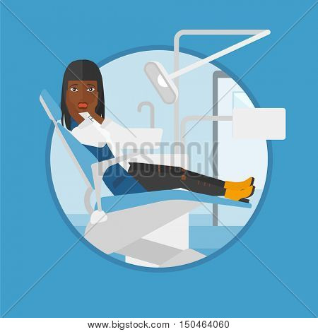 An african-american frightened patient at dentist office. Scared young woman in dental clinic. Afraid woman sitting in dental chair.Vector flat design illustration in the circle isolated on background