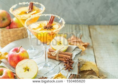 Apple cider with cinnamon and anise, wood background, copy space
